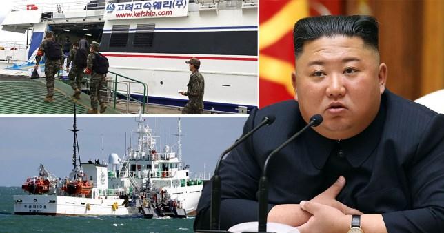 North Korea leader Kim Jong-Un and soldiers.