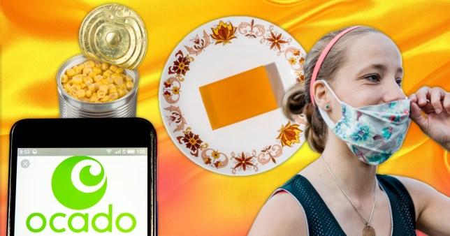 Soap, floral masks, tinned food and ocado app logo