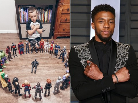 Cancer survivor, 6, holds Avengers dolls 'funeral' for his hero Chadwick Boseman