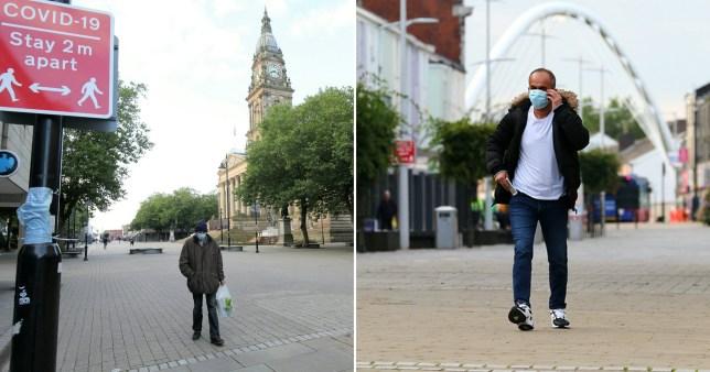 Men walking wearing facemasks in Bolton, Greater Manchester
