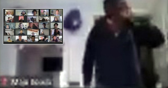 Composition of screengrab of an intruder and an inset of a screengrab of the rest of the Zoom call