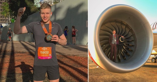 Man after he ran a marathon pictured next to image of him at work with Virgin airlines