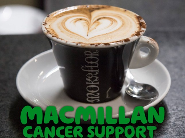 Cup of coffee with Macmillan logo
