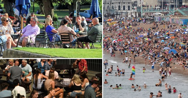 Pictures of people socialising at the beach and at pubs