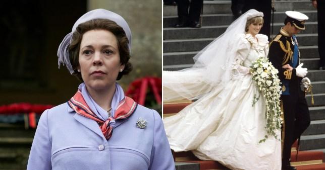 The Crown and Princess Diana wedding dress