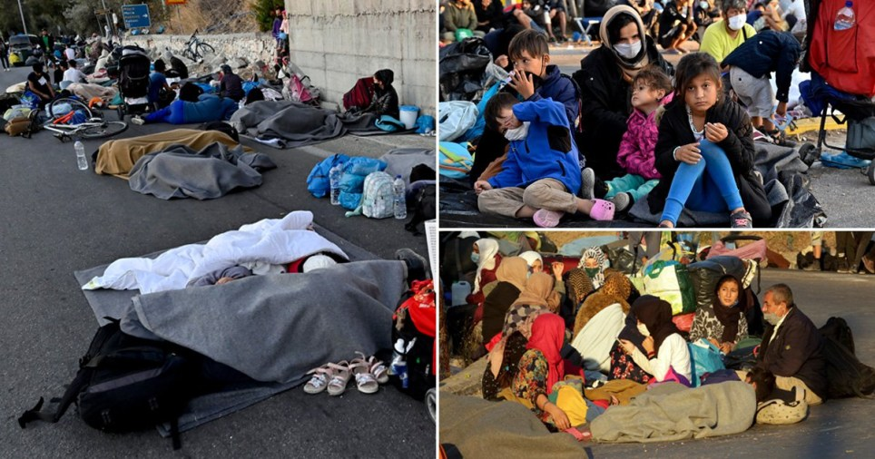 Homeless children, women and men can be seen sleeping on the streets of Lesbos.