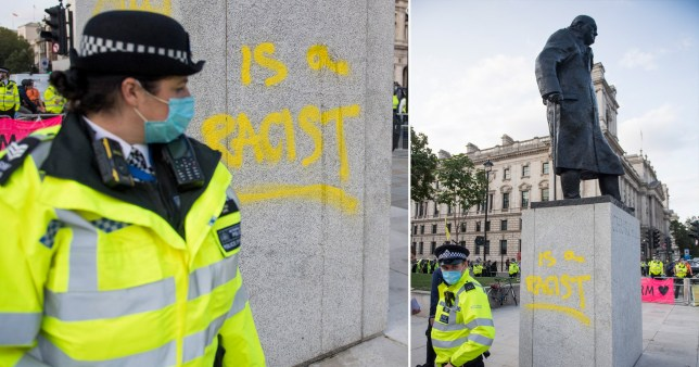 Protester arrested for causing criminal damage to Winston Churchill statue
