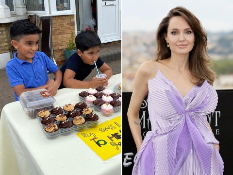 Angelina Jolie donates to two young boys' lemonade stand to raise money for Yemen