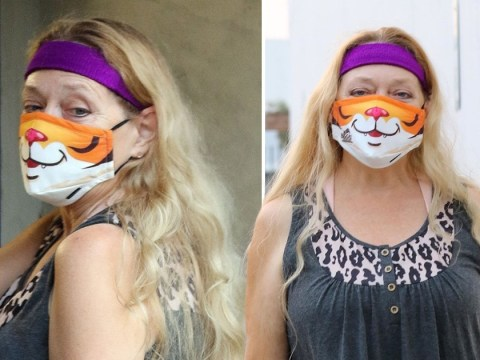 Carole Baskin is the coolest cat as she rocks a tiger mask for Dancing With The Stars rehearsals