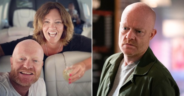 Jake Wood pictured with wife Alison and as Max Branning in EastEnders