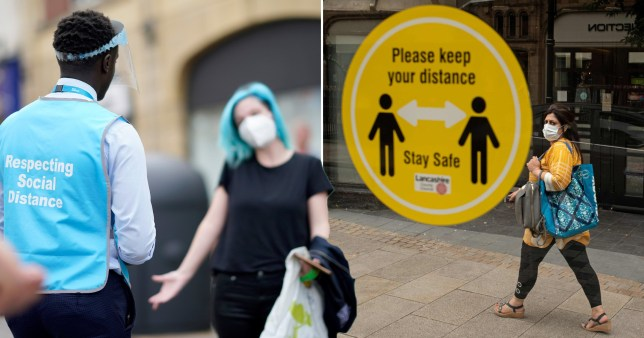 Composite image of people wearing face masks in Lancashire