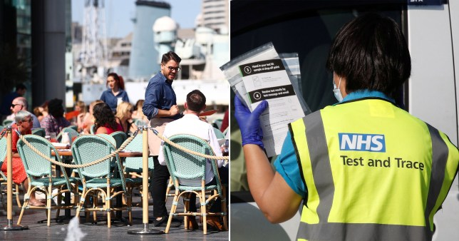 Restaurant staff serve customers in an outdoor seating area (left) and an NHS Test and Trace worker wearing a high-vis and a face mask