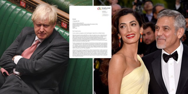 Composite image Boris Johnson and Amal Clooney