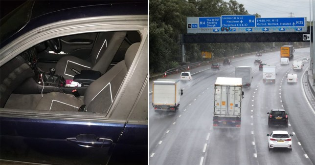 Composite image of woman's car and the motorway