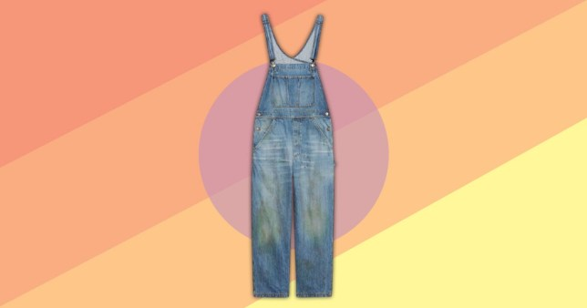 Gucci dungarees on colourful background of pastel colours