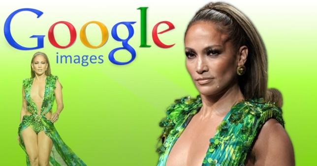Jennifer Lopez wearing iconic Versace dress