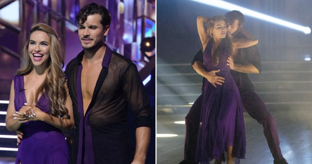 Chrishell Stause performing on Dancing With The Stars with Gleb Savchenko