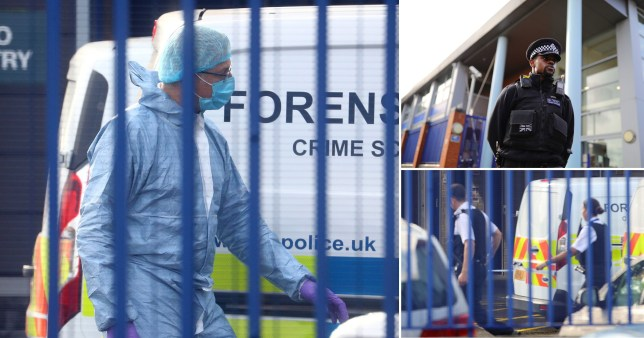 Composite image of forensic officers at the scene of Croydon Custody Centre, where a police officer was shot dead
