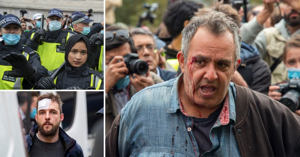 Anti-lockdown protest turns violent in Trafalgar Square, London, on September 26, 2020