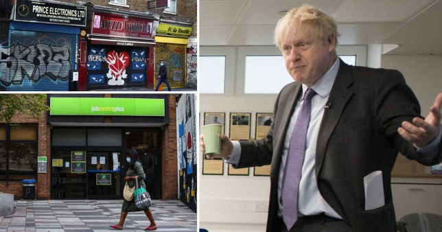 Boris Johnson alongside a picture of a job centre and shuttered shops