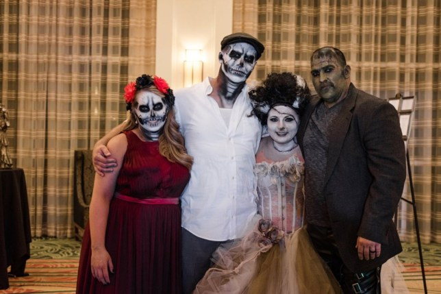 Jamie and Brad Smythe on their Halloween-themed wedding day