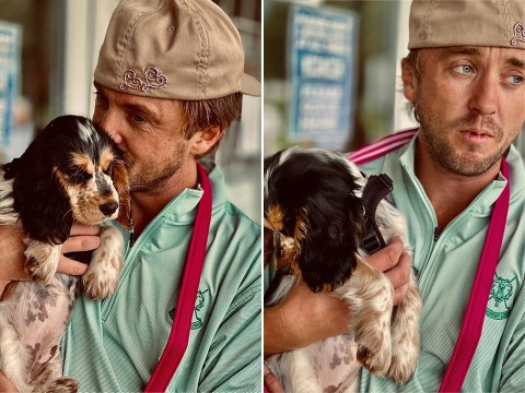 Tom Felton snuggling up to cocker spaniel puppy is the cutest thing ever