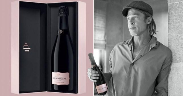 Brad Pitt and a bottle of Fleur de Mirval rose champagne
