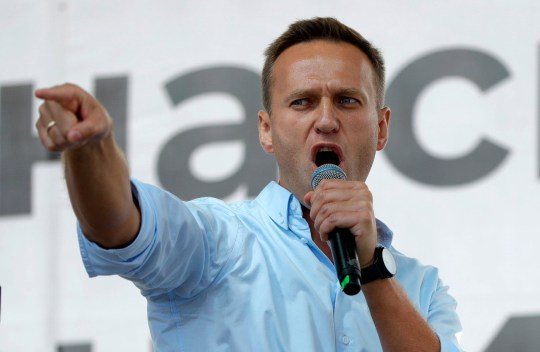 FILE - In this Saturday, July 20, 2019 file photo Russian opposition activist Alexei Navalny gestures while speaking to a crowd during a political protest in Moscow, Russia. Russian opposition leader Alexei Navalny was the victim of an attack and poisoned with the Soviet-era nerve agent Novichok, the German government said Wednesday, Sept. 2, 2020 citing new test results. Navalny, a politician and corruption investigator who is one of Russian President Vladimir Putin's fiercest critics, fell ill on a flight back to Moscow from Siberia on Aug 20 and was taken to a hospital in the Siberian city of Omsk after the plane made an emergency landing. (AP Photo/Pavel Golovkin, File)