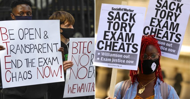 BTEC students protest outside Downing Street following the Department for Education's exam results scandal