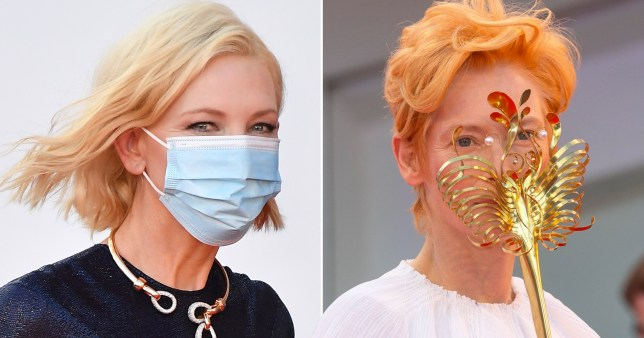 Cate Blanchett and Tilda Swinton masked at Venice (Picture: Getty, Avalon)