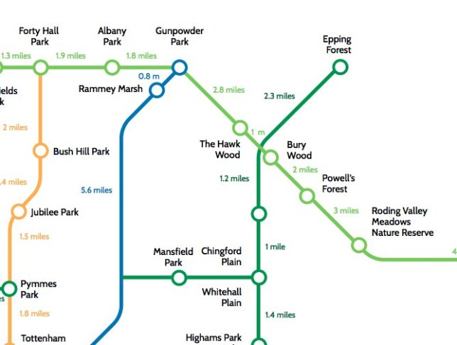Map shows walking routes between London's parks and nature spots