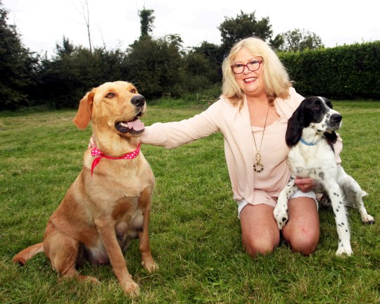 Mary Killing with her dogs Archie and Bella