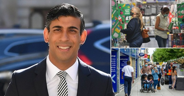 Composition showing Rishi Sunak (left), people shopping (top right) and people on the high street (bottom right)