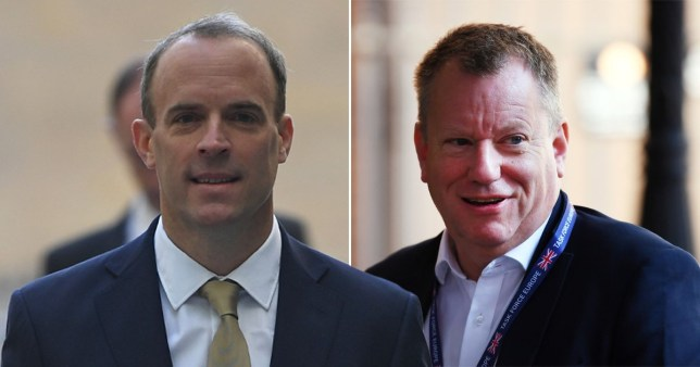 Composition of Dominic Raab (left) and Michel Barnier (right)