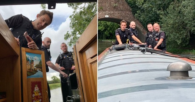 A stolen narrow boat was boarded by officers after possibly the slowest ever police chase