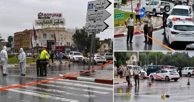 La police médico-légale tunisienne enquête sur le site de l'attaque terroriste contre des officiers de la Garde nationale tunisienne à Sousse, au sud de Tunis, Tunisie, le 6 septembre 2020.