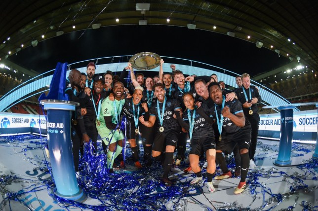 Mandatory Credit: Photo by Hambury/UNICEF/SAP/REX (10767997lt) The Soccer Aid World XI FC are pictured with the Soccer Aid for Unicef Shield after winning their match against England on penalties in Soccer Aid for Unicef 2020 at Old Trafford, Manchester Soccer Aid, Manchester, UK - 06 Sep 2020 For further information, please contact Head of Communications Niall Malone on 07717 281 600 or niall@socceraidproductions.com? Unicef/SAP/(HAMBURY)20Photographed by Daniel Hambury for Unicef UK and SAP LTD.06/09/2020