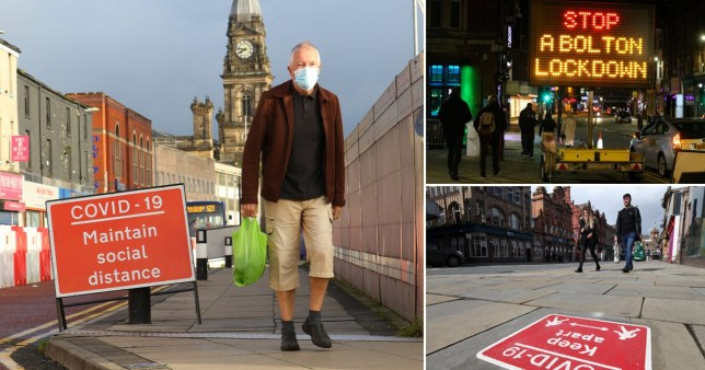 People walking in face masks in Bolton and Manchester as Covid-19 cases rise