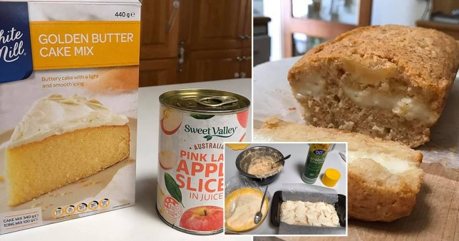 Apple cake and its ingredients
