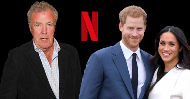 Jeremy Clarkson, Prince Harry and Meghan Markle on Netflix banner