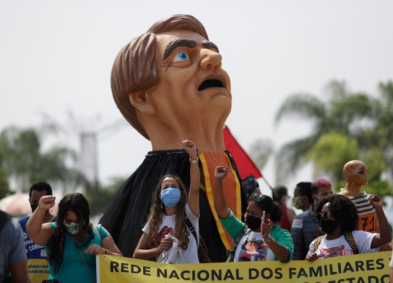 Demonstrators protest against Brazil's President Jair Bolsonaro