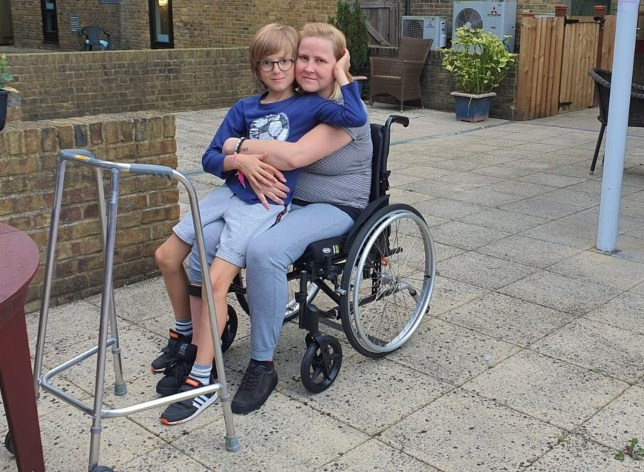 MUM EMESE ILLES-TOTH WITH HER 10-YEAR-OLD SON ALMOS OTVOS VISITING HER IN HER CARE HOME AFTER LOSING THE ABILITY TO WALK