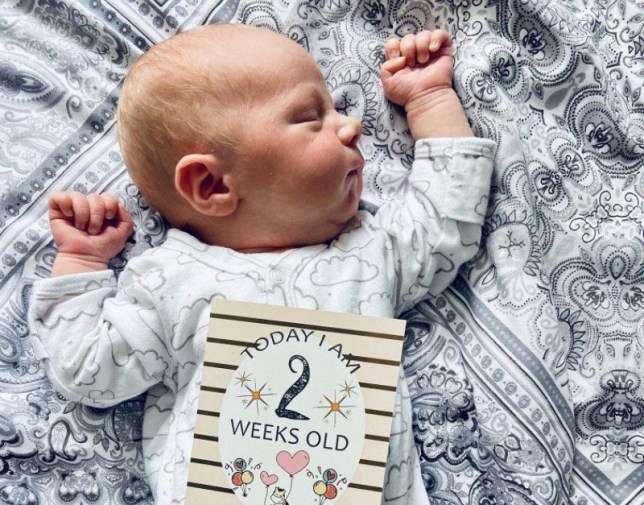 Photo shows Callum Stevenson whose mum Stacey gave birth to him two days after being told she was pregnant. He is two weeks old in this pic.