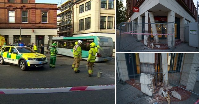 Several people were injured when two buses crashed into each before one ploughed into an Argos store this afternoon (Wed) narrowly missing dozens of shoppers. One of the buses crashed into the shop after the horror crash in Upper Parliament Street in Nottingham city centre at 4.10pm.