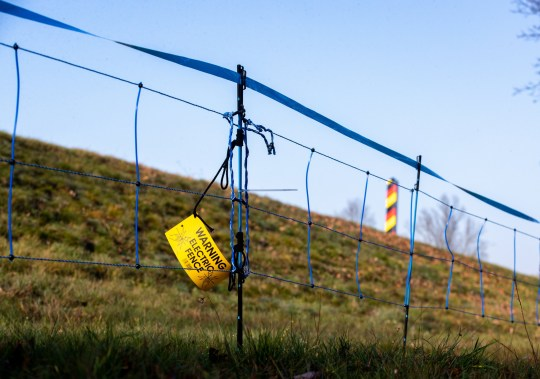 epa08658129 (FILE) - A view on an electric wildlife fence with a note reading 'Warning electric fence' and a German border pole in the background on the border between eastern Germany and western Poland in Guben, Brandenburg, Germany, 20 December 2019 (reissued 10 September 2020). The German state of Brandenburg has build a temporary electric wildlife fence to prevent wild boars to cross the Germany from Poland, as the risk of the African Swine Fever (ASF) from infected animals is getting higher. The German Agriculture Ministry confirmed a first Swine Fever case in a dead wild boar in Brandenburg, Germany, on 10 September 2020. EPA/HAYOUNG JEON *** Local Caption *** 55721573