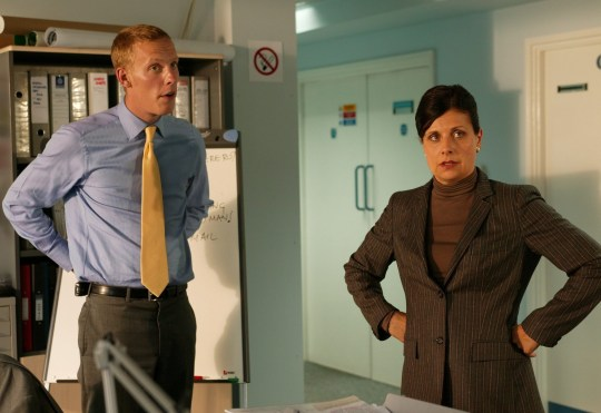 Editorial use only Mandatory Credit: Photo by ITV/REX/Shutterstock (671891qp) Laurence Fox and Rebecca Front in 'Lewis' - 2006 ITV Archive