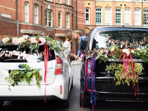 UK's first drive-through wedding service marries couples who had to delay their big day