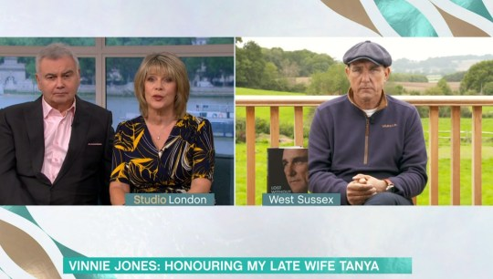 Mandatory Credit: Photo by ITV/REX (10773226ae) Eamonn Holmes, Ruth Langsford and Vinnie Jones 'This Morning' TV Show, London, UK - 11 Sep 2020