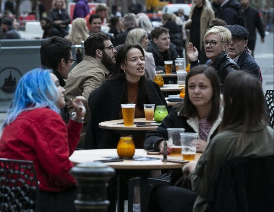 People, in Manchester City centre, enjoy the last weekend before lockdown restrictions are tightened in England, pictured in Manchester City centre, Sep 11 2020.