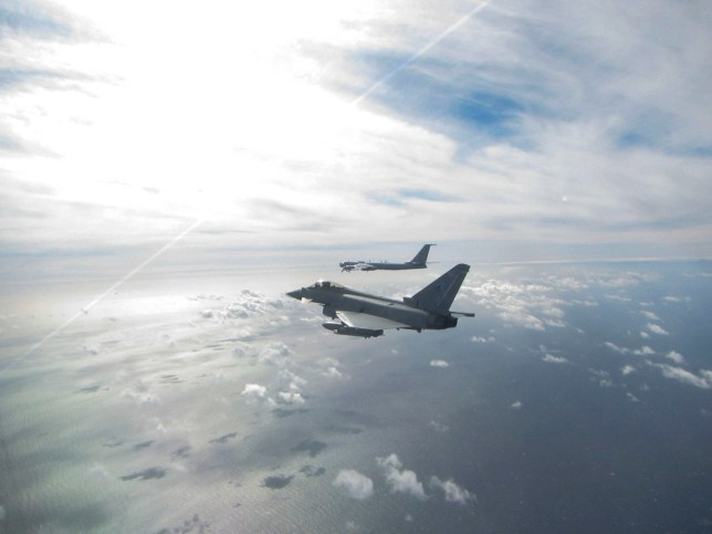 Handout photo dated 12/09/20 issued by the MoD showing a Eurofighter Typhoon (near) and a Russian Bear F aircraft (far), one of two Russian aircraft the Typhoon has been sent to intercept off the Scottish Coast from Leuchars Station. PA Photo. Issue date: Saturday September 12, 2020. See PA story DEFENCE Typhoon. Photo credit should read: SAC Sian Stephens/RAF/MoD/PA Wire NOTE TO EDITORS: This handout photo may only be used in for editorial reporting purposes for the contemporaneous illustration of events, things or the people in the image or facts mentioned in the caption. Reuse of the picture may require further permission from the copyright holder.